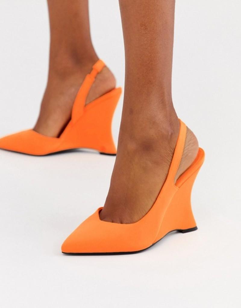 エイソス レディース サンダル シューズ ASOS DESIGN Poison pointed slingback wedges in bright orange Bright orange