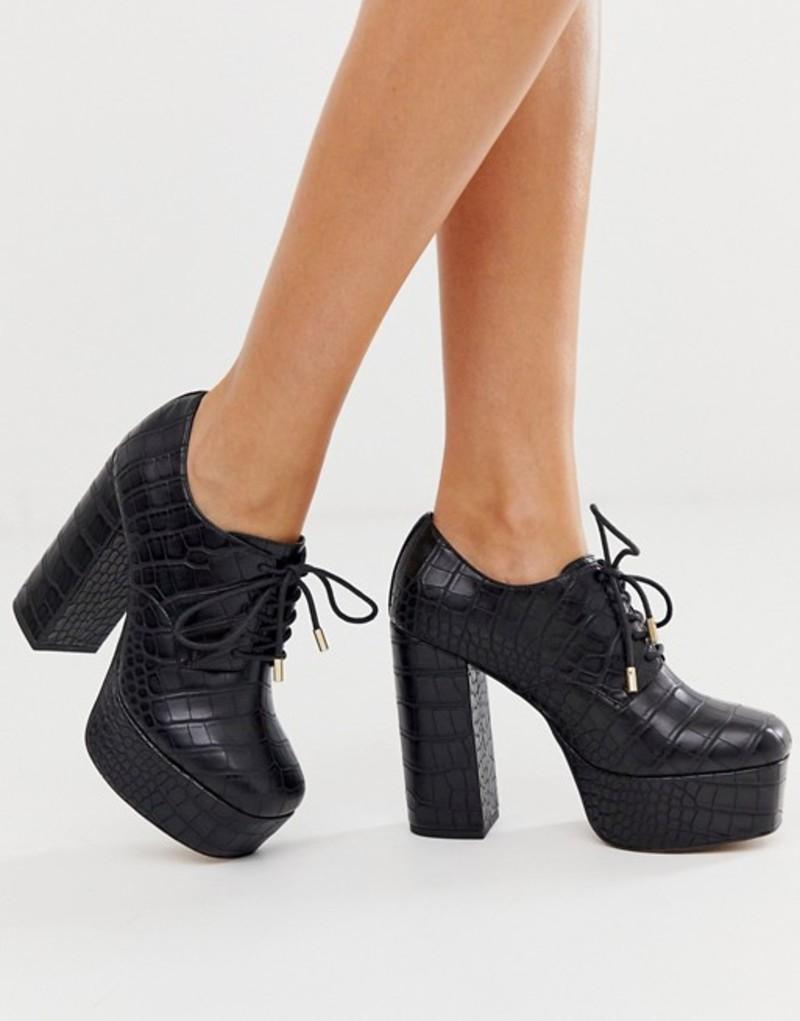 エイソス レディース ヒール シューズ ASOS DESIGN Principal platform town shoe heels in black croc Black croc