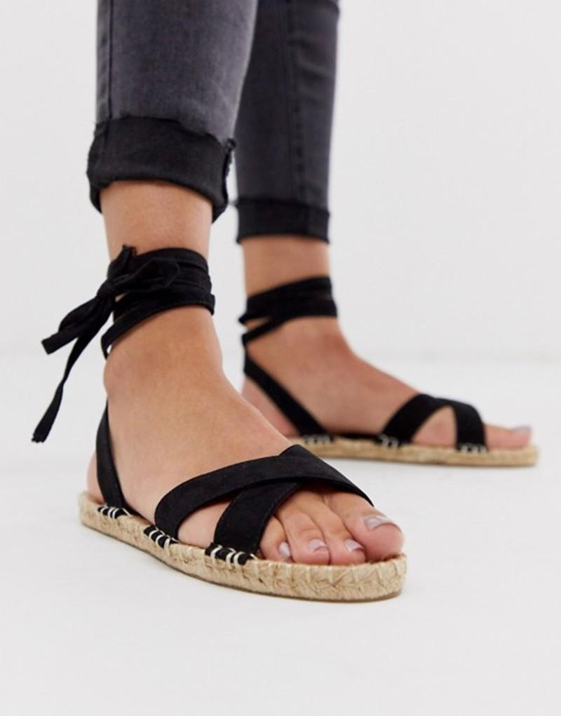 エイソス レディース サンダル シューズ ASOS DESIGN Jala espadrille flat sandals in black Black