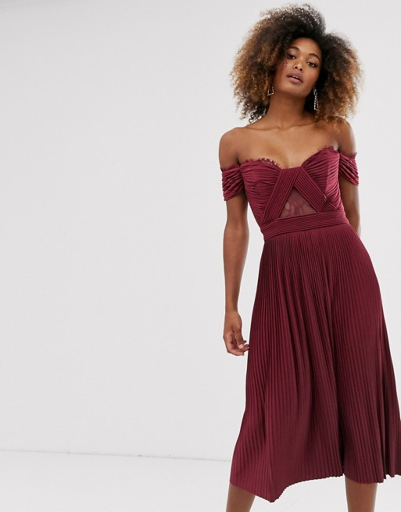 エイソス レディース ワンピース トップス ASOS DESIGN lace and pleat bardot midi dress Oxblood