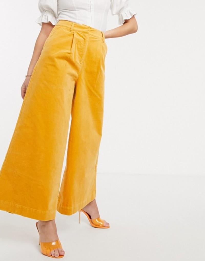 エイソス レディース カジュアルパンツ ボトムス ASOS DESIGN uber wide leg culotte in velvet Orange