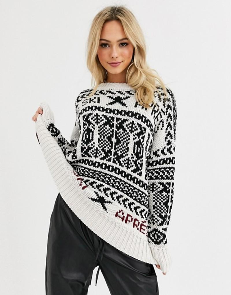 エイソス レディース ニット・セーター アウター ASOS DESIGN mono oversized ski sweater Mono