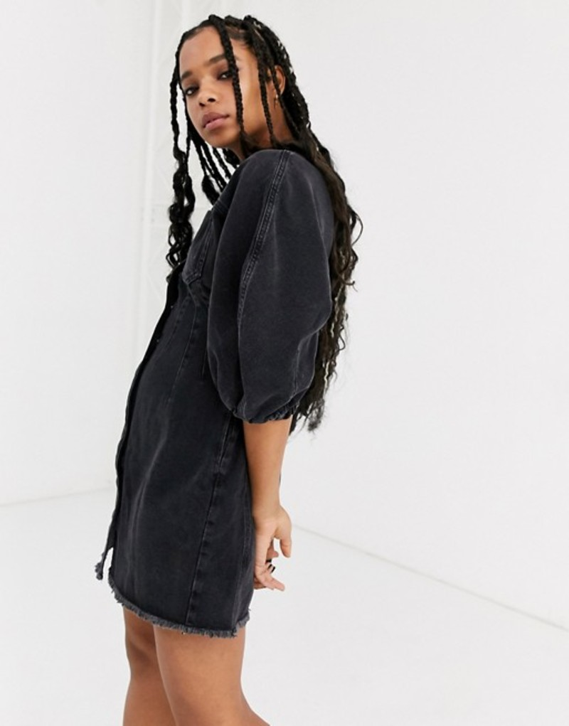 エイソス レディース ワンピース トップス ASOS DESIGN denim corset seamed raw hem mini dress with puff sleeve Washed black