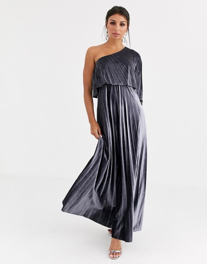 エイソス レディース ワンピース トップス ASOS DESIGN one shoulder pleated crop top maxi dress in velvet Silver