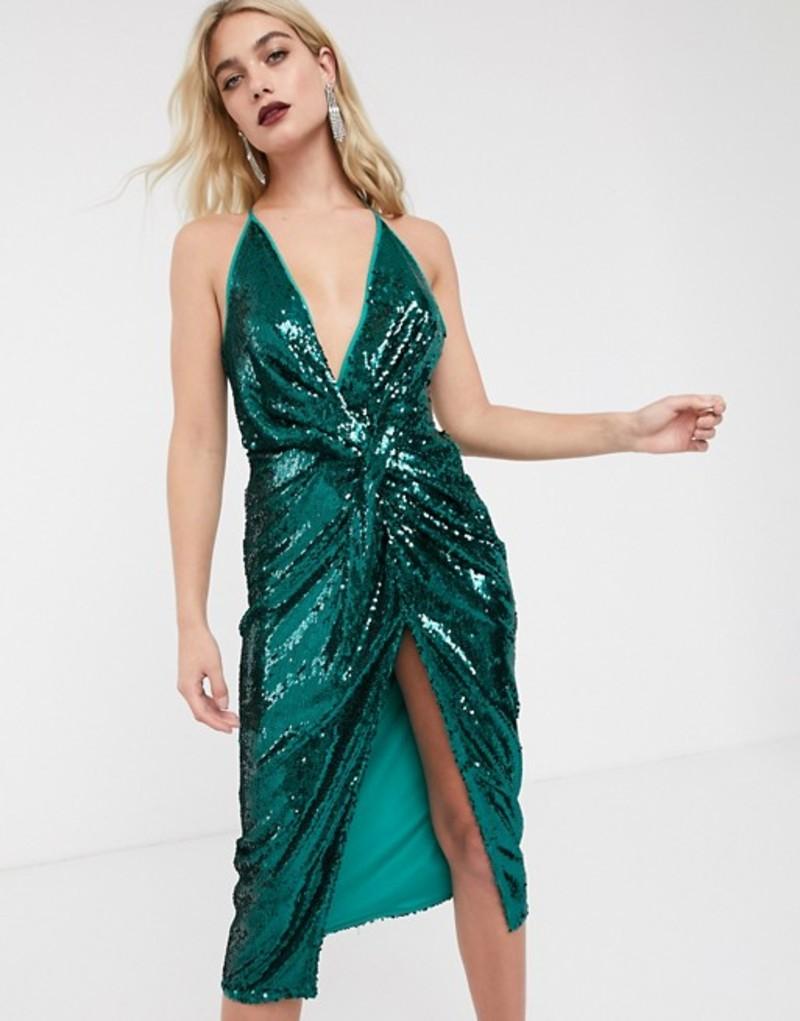 エイソス レディース ワンピース トップス ASOS DESIGN midi dress with knot front in sheet sequin Teal