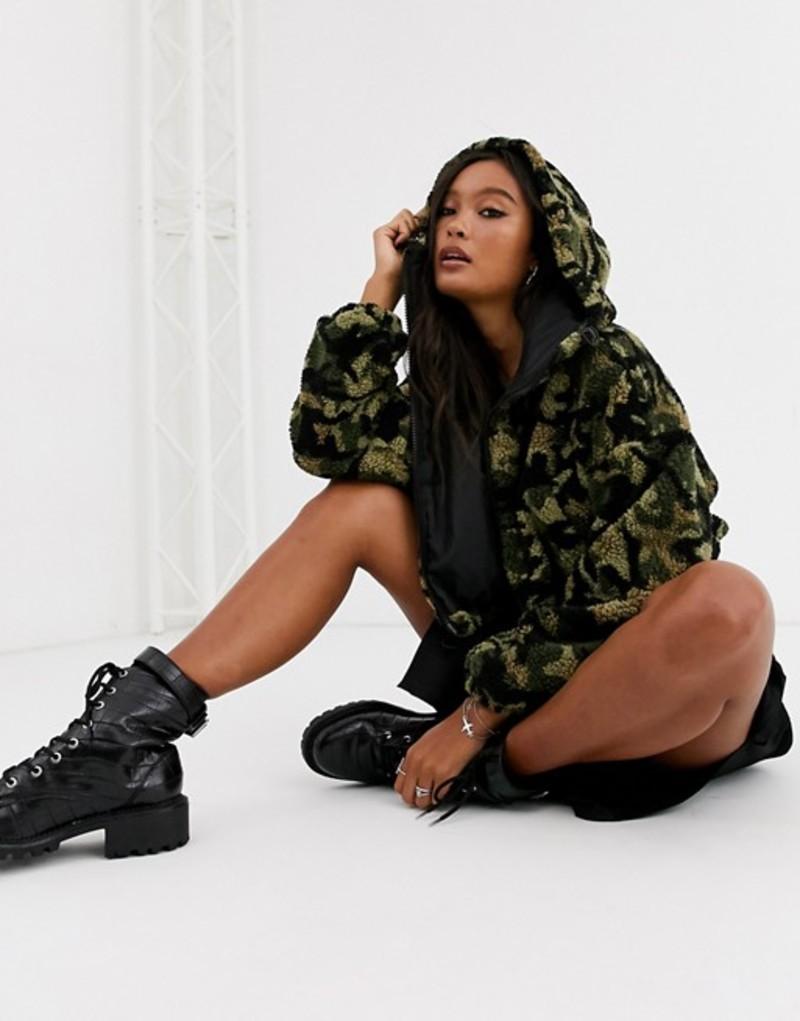 エイソス レディース ジャケット・ブルゾン アウター ASOS DESIGN cropped camo fleece jacket Multi
