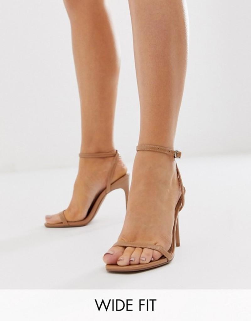 エイソス レディース サンダル シューズ ASOS DESIGN Wide Fit Nova barely there heeled sandals in beige Beige