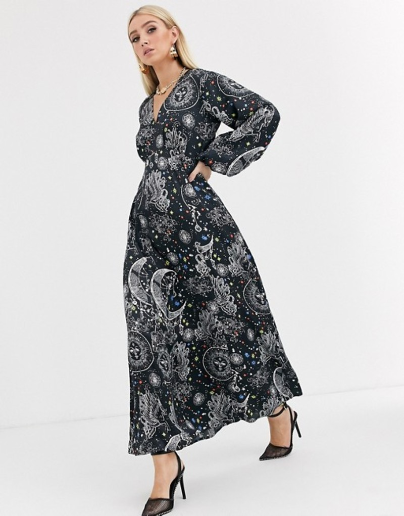 エイソス レディース ワンピース トップス ASOS DESIGN maxi dress with puff sleeves in satin astrological print Astrological print