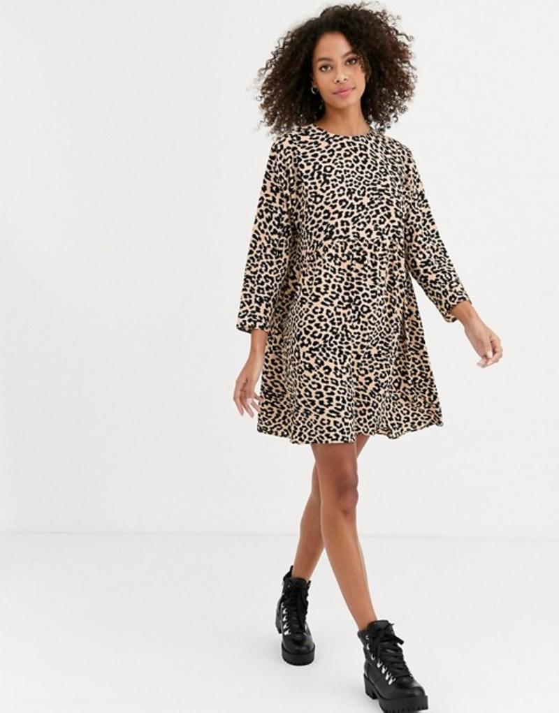 エイソス レディース ワンピース トップス ASOS DESIGN long sleeve smock mini dress in leopard print Leopard print