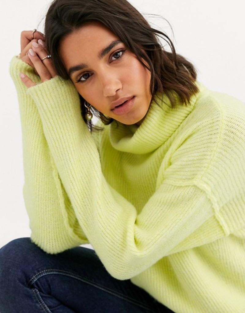 エイソス レディース ニット・セーター アウター ASOS DESIGN fluffy sweater with cowl neck in recycled blend Pistachio
