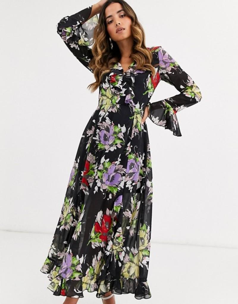 エイソス レディース ワンピース トップス ASOS DESIGN wrap maxi dress with frills in dark based floral print Black based floral