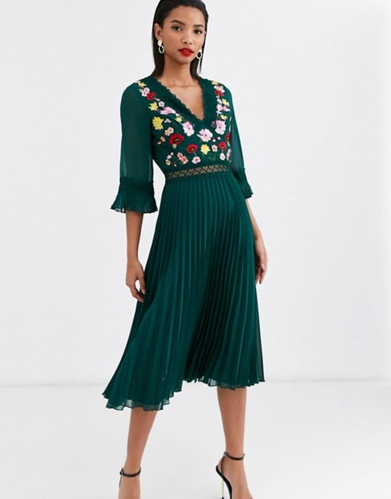 エイソス レディース ワンピース トップス ASOS DESIGN lace insert pleated midi dress with embroidery Forest green