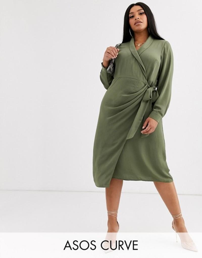 エイソス レディース ワンピース トップス ASOS DESIGN Curve collared wrap midi dress Khaki