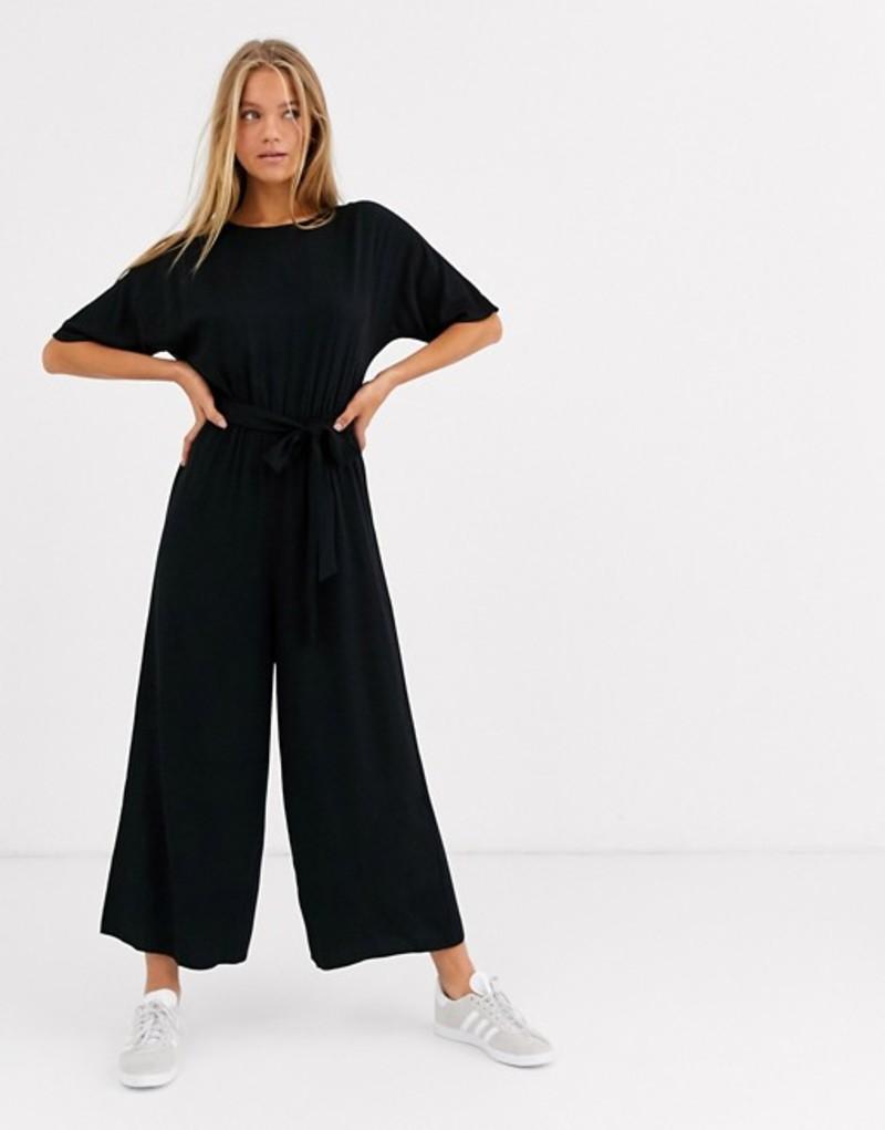 エイソス レディース ワンピース トップス ASOS DESIGN tie waist jumpsuit Black
