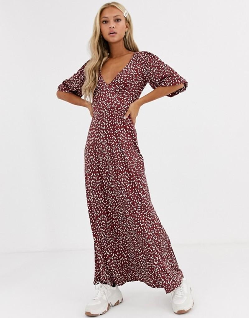 エイソス レディース ワンピース トップス ASOS DESIGN slinky tea maxi dress in polka dot Burgundy spot
