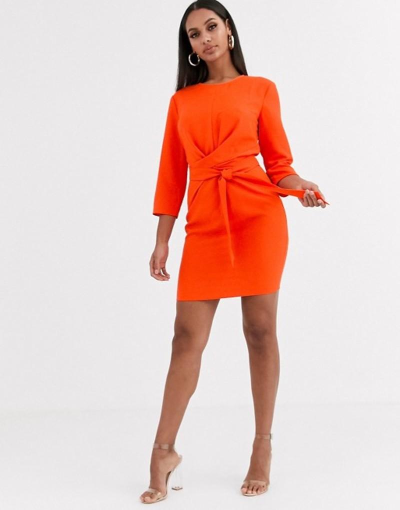 エイソス レディース ワンピース トップス ASOS DESIGN tie wrap around mini dress Blood orange
