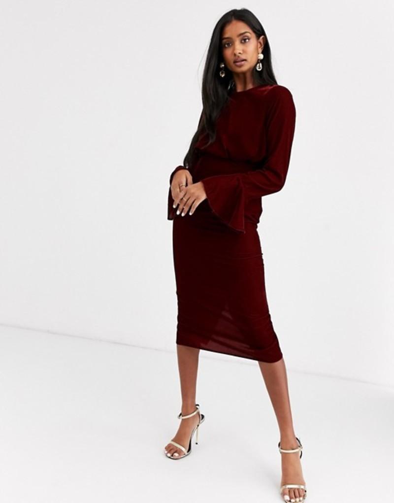 エイソス レディース ワンピース トップス ASOS DESIGN fluted sleeve midi pencil dress in velvet Oxblood