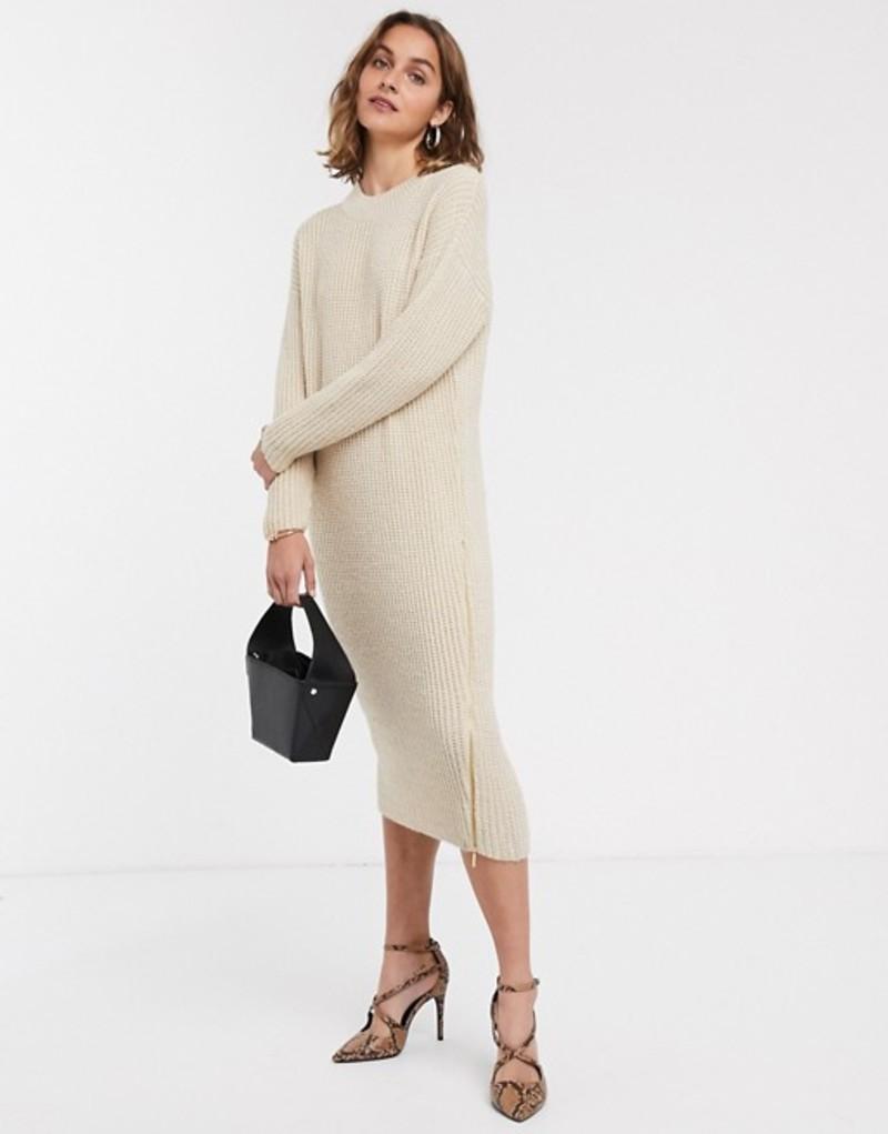 エイソス レディース ワンピース トップス ASOS DESIGN chunky midi dress with zip detail Stone