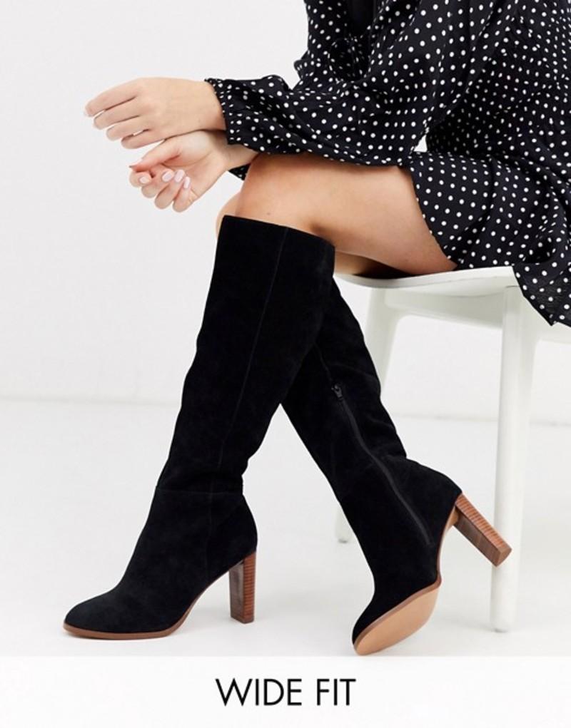 エイソス レディース ブーツ・レインブーツ シューズ ASOS DESIGN Wide Fit Clover premium suede knee high boots in black Black