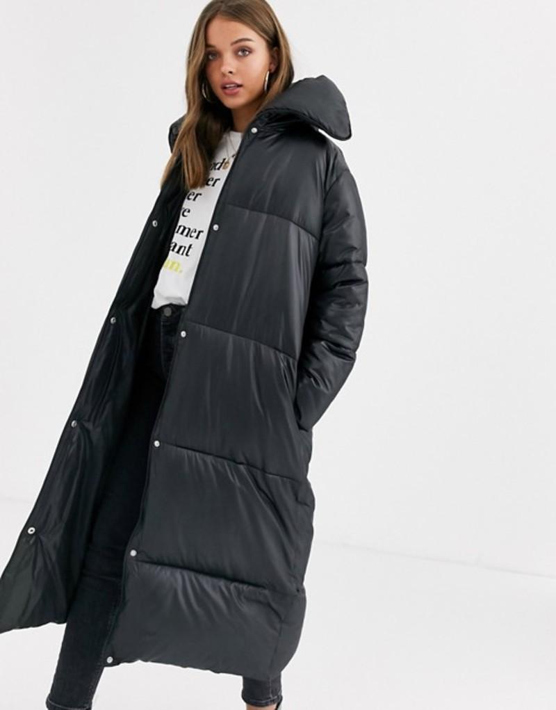 エイソス レディース コート アウター ASOS DESIGN extreme collar longline puffer coat in black Black