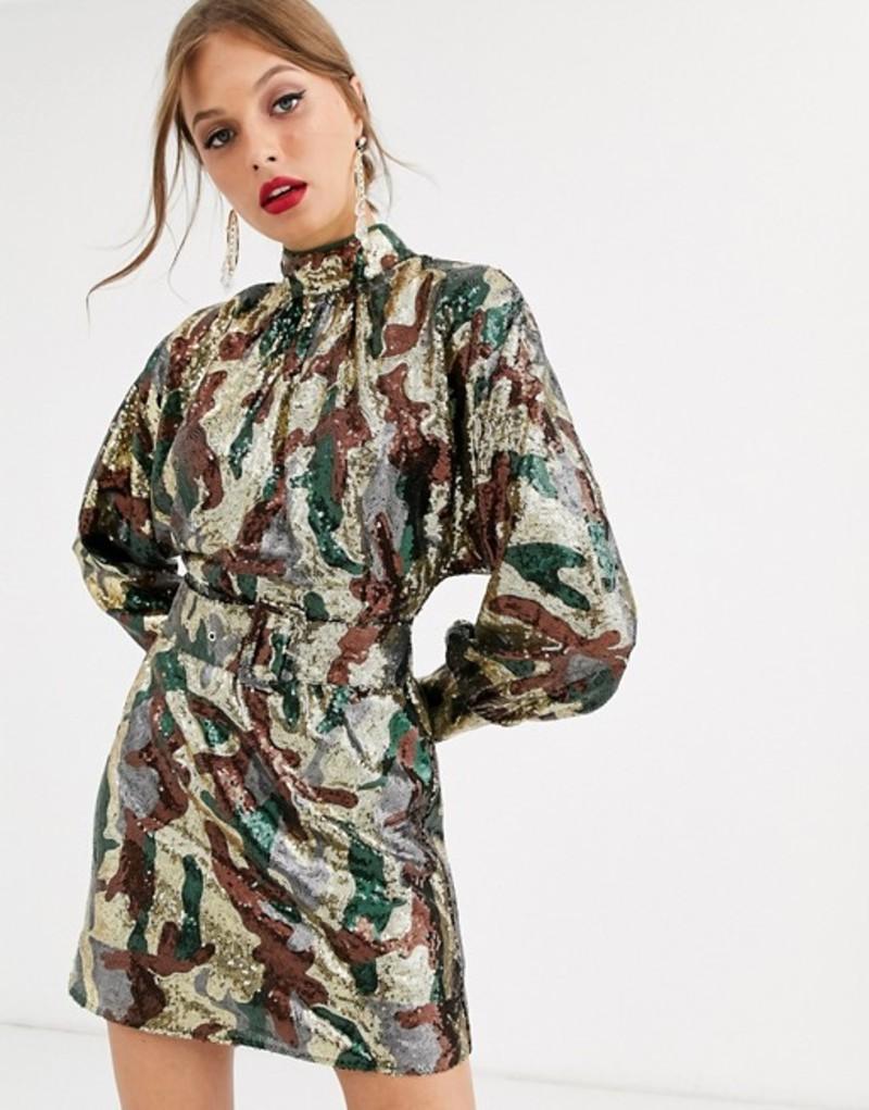 エイソス レディース ワンピース トップス ASOS DESIGN mini dress in camo sequin in slouchy fit with belt Camo