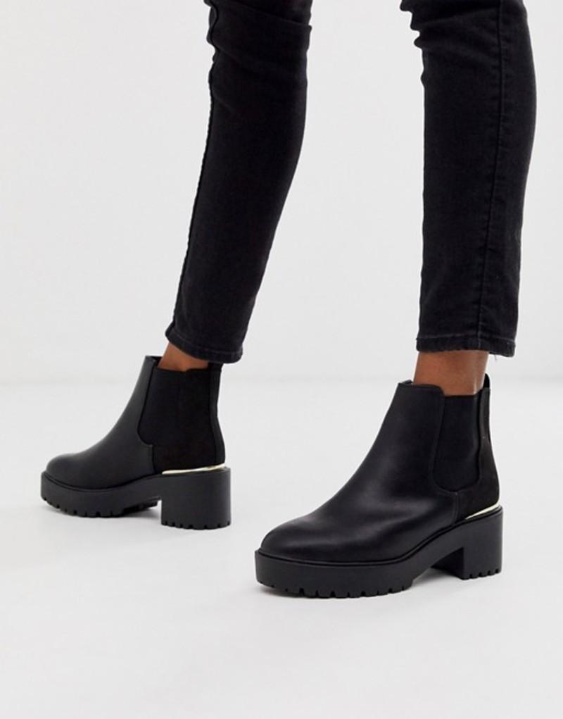 ニュールック レディース ブーツ・レインブーツ シューズ New Look metal detail chunky heeled boots in black Black