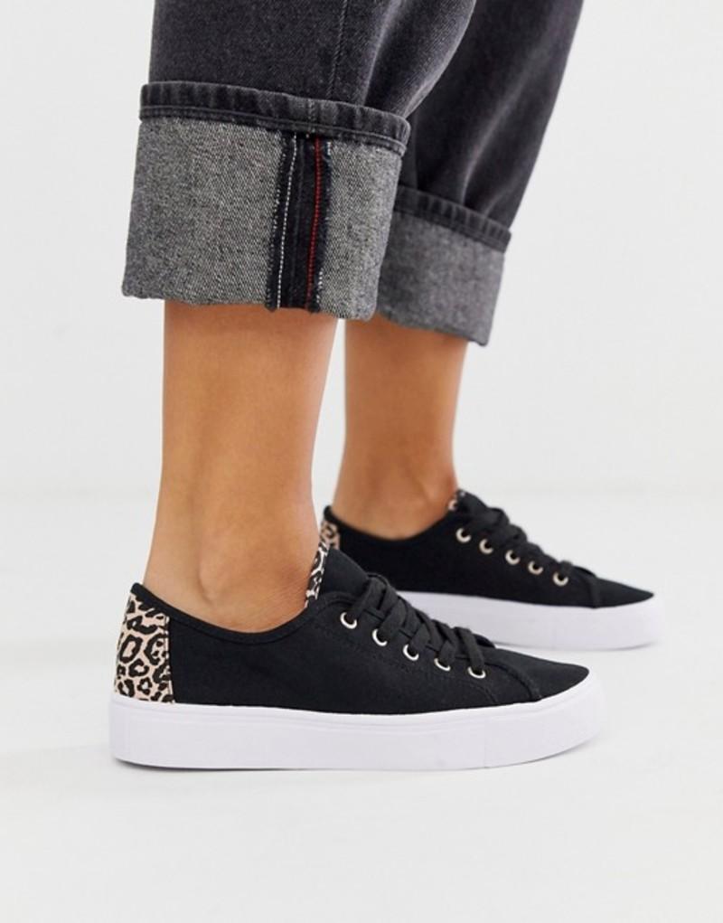 エイソス レディース スニーカー シューズ ASOS DESIGN Dusty lace up sneakers in black and leopard Black/leopard