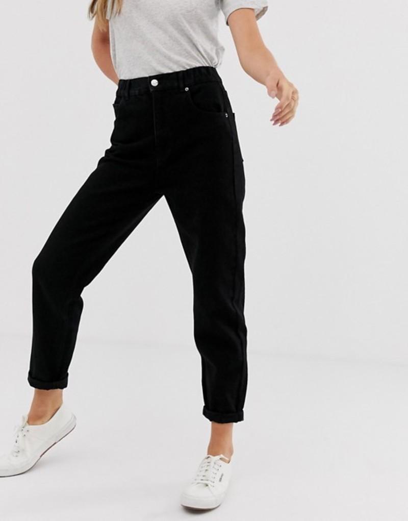 プルアンドベアー レディース デニムパンツ ボトムス Pull&Bear elastic waistband mom jean in black Black