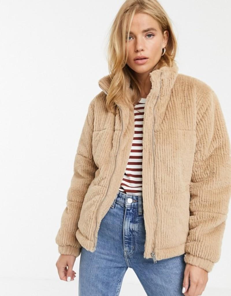 ニュールック レディース ジャケット・ブルゾン アウター New Look faux fur cord puffer jacket in camel 17 camel
