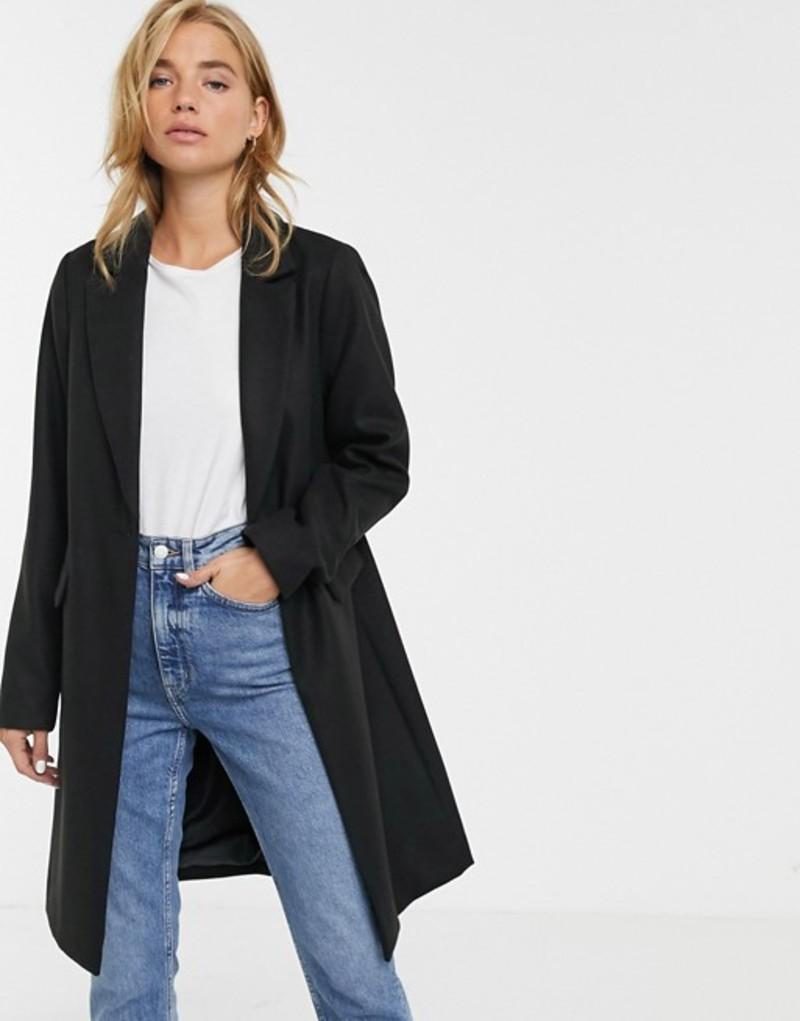 ニュールック レディース コート アウター New Look button front coat in black Black