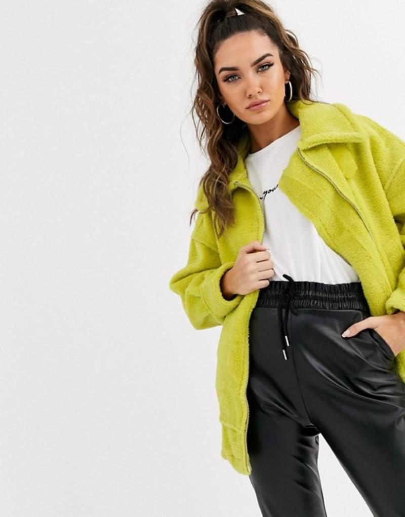 ミスガイデッド レディース ジャケット・ブルゾン アウター Missguided faux fur aviator jacket in lime Green