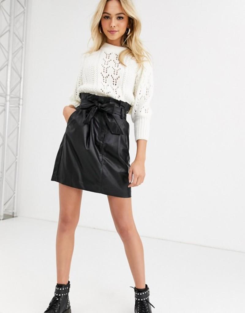 ニュールック レディース スカート ボトムス New Look paperbag PU mini skirt in black Black