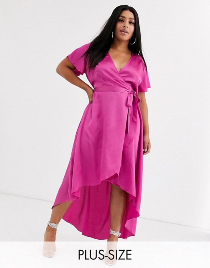 ミスガイデッド レディース ワンピース トップス Missguided Plus satin wrap maxi dress in magenta Pink