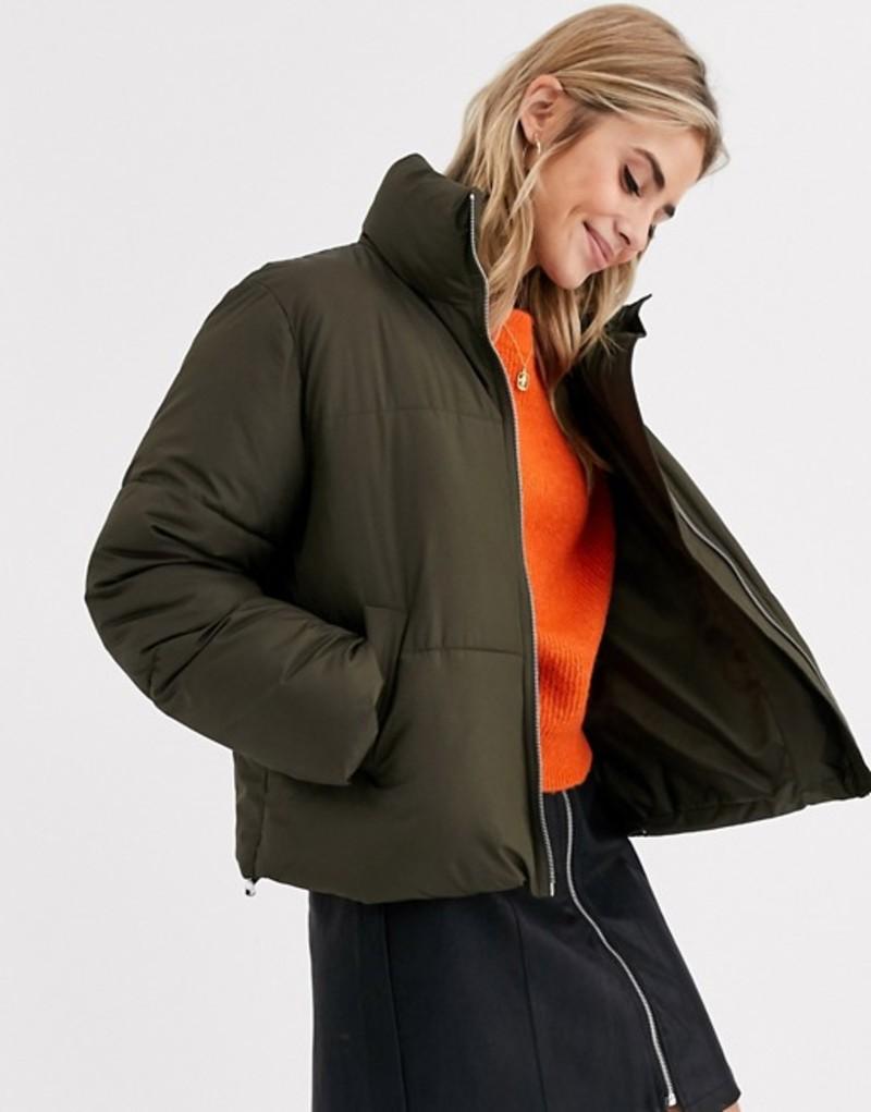 ニュールック レディース ジャケット・ブルゾン アウター New Look boxy puffer jacket in khaki Dark khaki