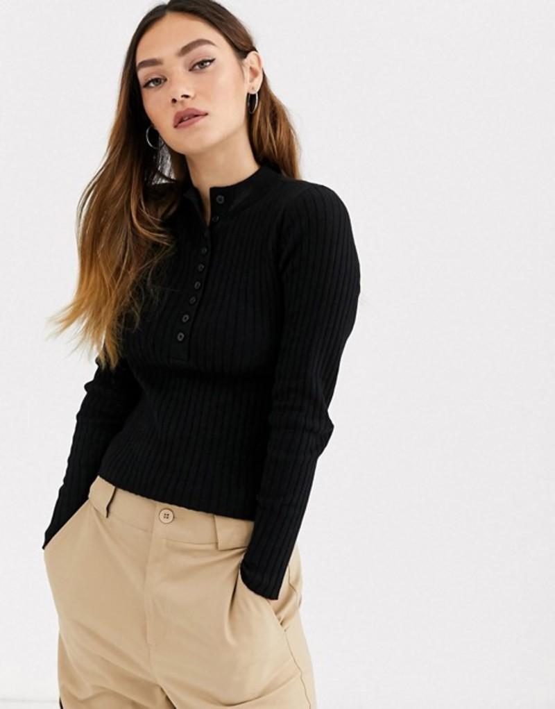 モンキ レディース ニット・セーター アウター Monki ribbed button-down long sleeve sweater in black Black