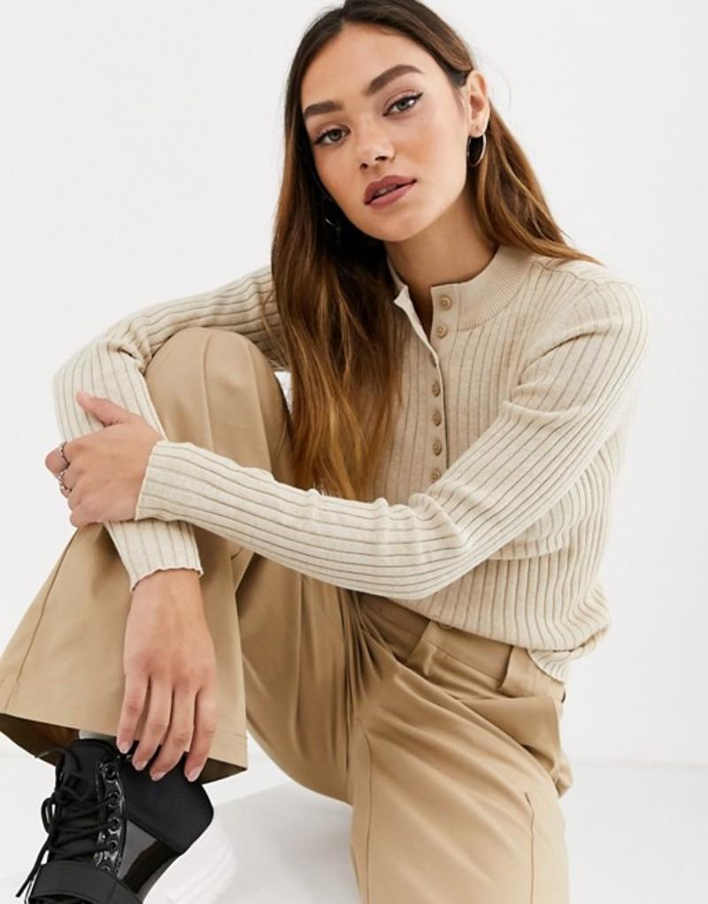 モンキ レディース ニット・セーター アウター Monki ribbed button-down long sleeve sweater in beige Beige