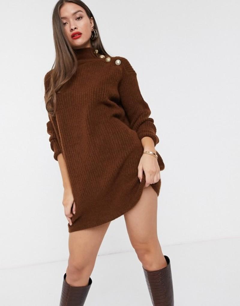 リバーアイランド レディース ワンピース トップス River Island knitted dress with buttoned shoulder in toffee Toffee