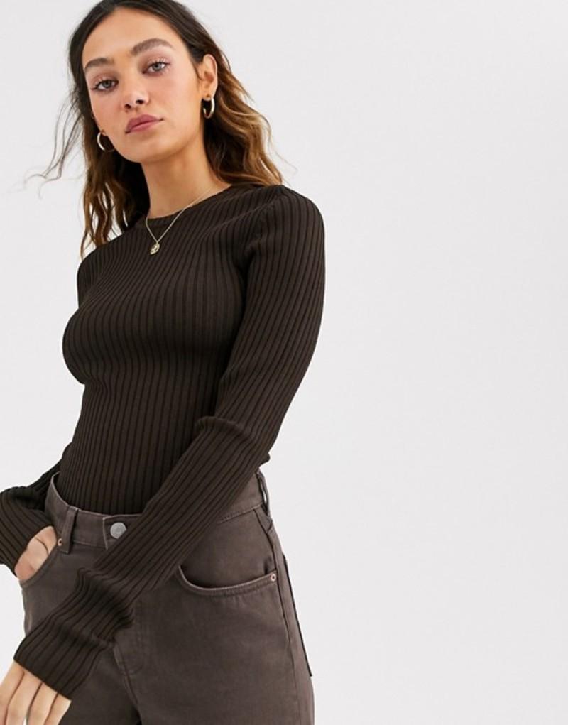 ウィークデイ レディース ニット・セーター アウター Weekday Thalia ribbed sweater in dark brown Dark brown