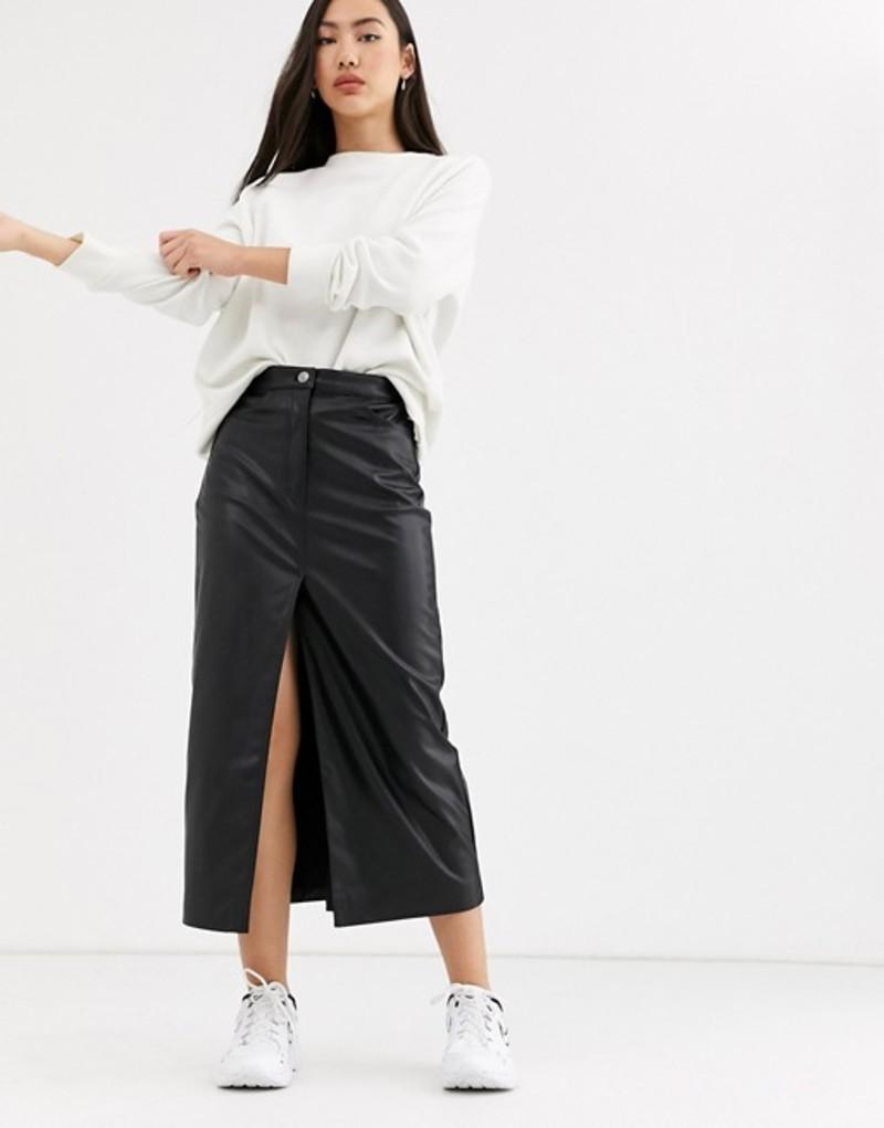 ウィークデイ レディース スカート ボトムス Weekday Emmie faux leather midi skirt in black Black