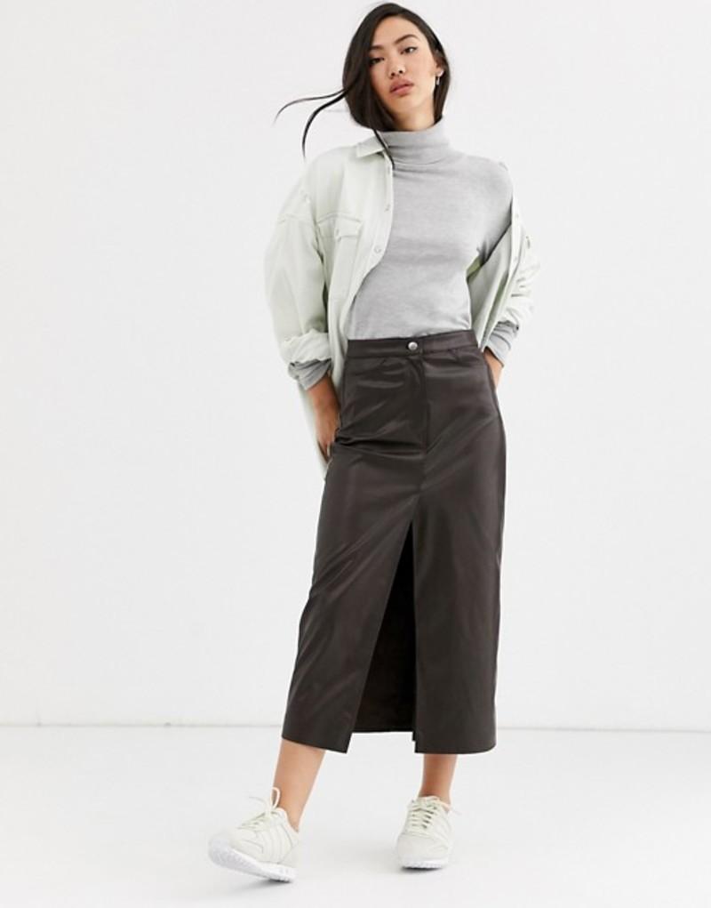 ウィークデイ レディース スカート ボトムス Weekday Emmie faux leather midi skirt in brown Brown