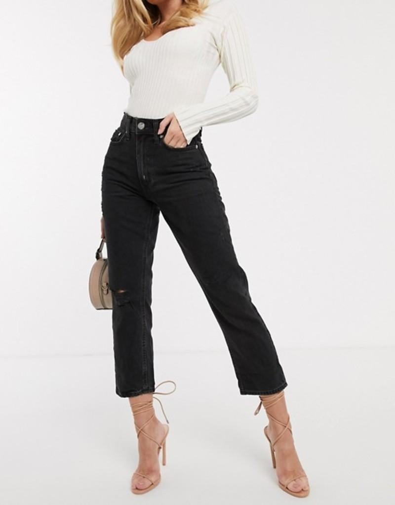 リバーアイランド レディース デニムパンツ ボトムス River Island distressed mom jeans in washed black Washed black