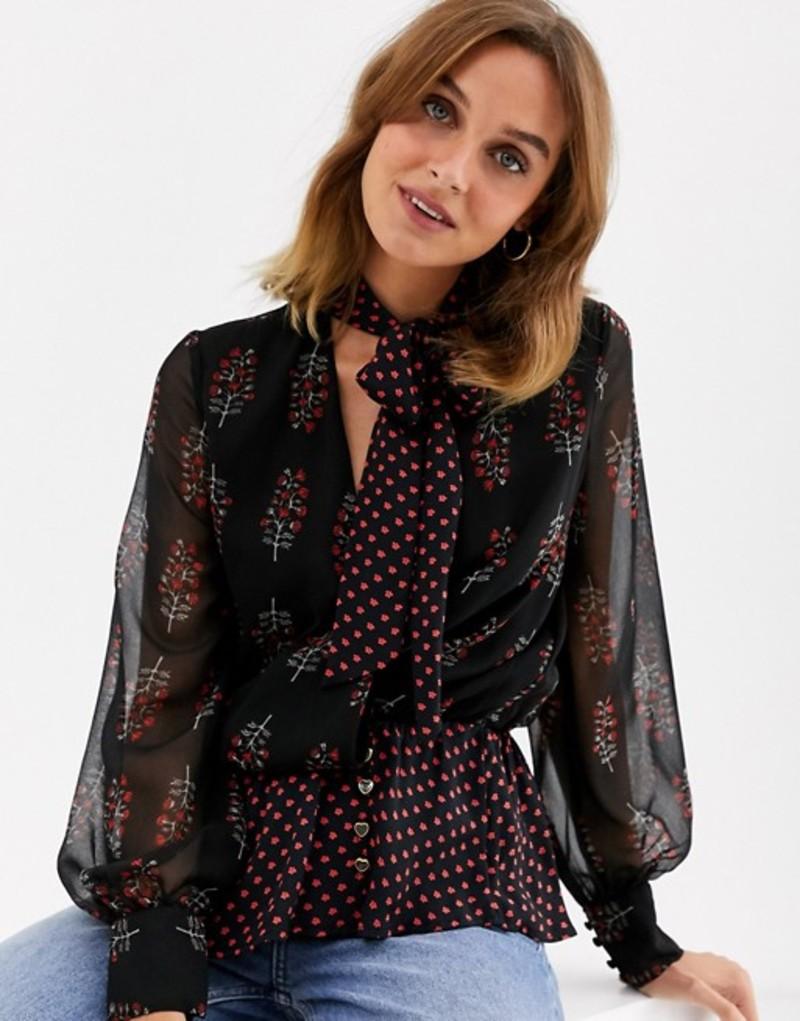 リバーアイランド レディース シャツ トップス River Island pussybow blouse in mixed print Black print