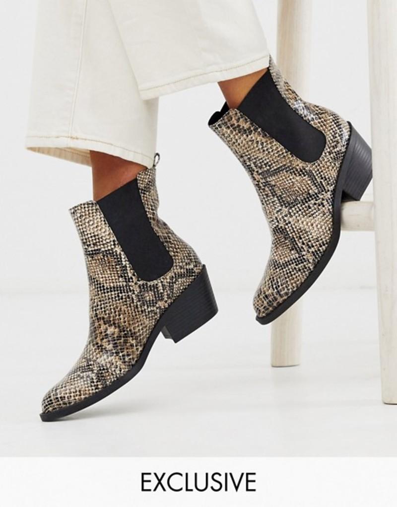モンキ レディース ブーツ・レインブーツ シューズ Monki faux leather heeled boots with pointed toe in snake print Multi