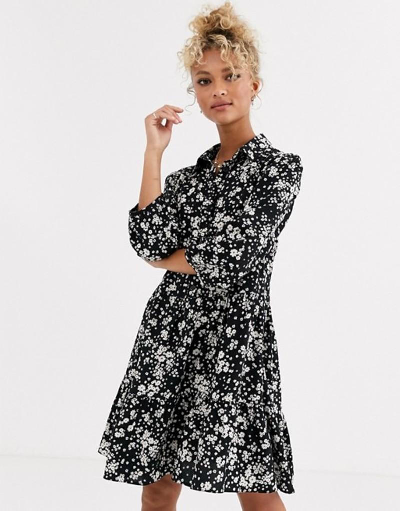 ニュールック レディース ワンピース トップス New Look ditsy floral smock dress in black Black pattern