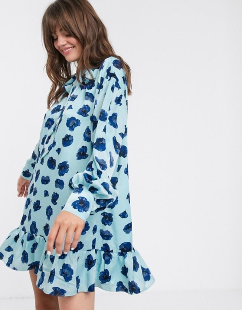 グラマラス レディース ワンピース トップス Glamorous mini smock dress with neck tie and peplum hem in poppy print Blue poppy