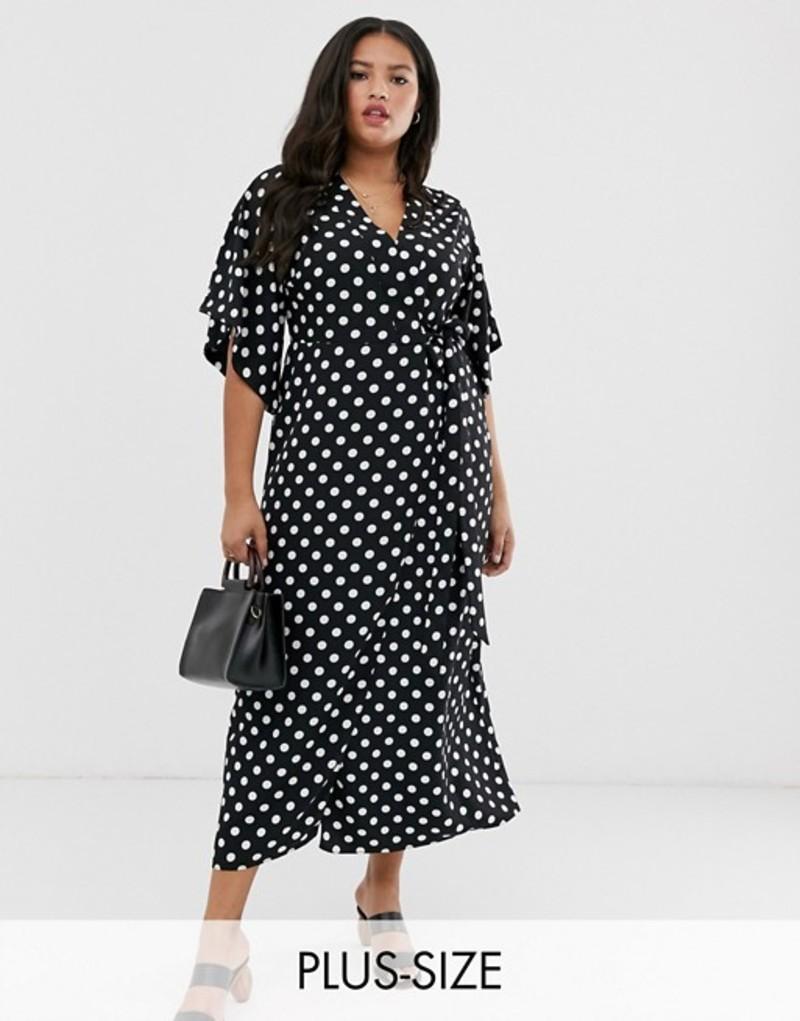 リバーアイランド レディース ワンピース トップス River Island Plus wrap midi dress in polka dot print Spot print