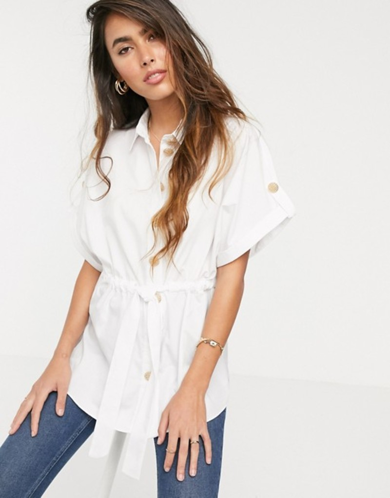 リバーアイランド レディース シャツ トップス River Island waisted shirt in white White