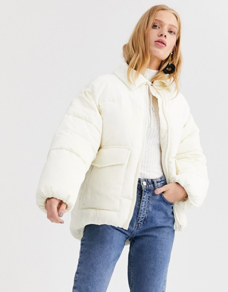 モンキ レディース ジャケット・ブルゾン アウター Monki short puffer jacket with cord blockings in cream Cream