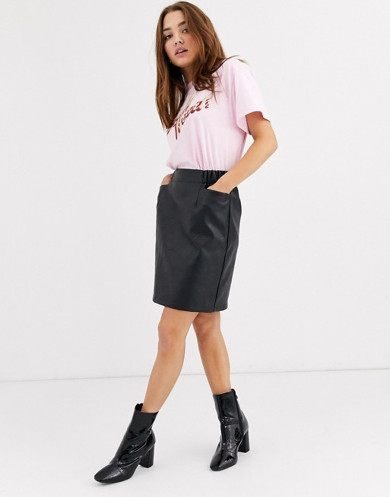 ピーシーズ レディース スカート ボトムス Pieces faux leather mini skirt with oversized pockets Black