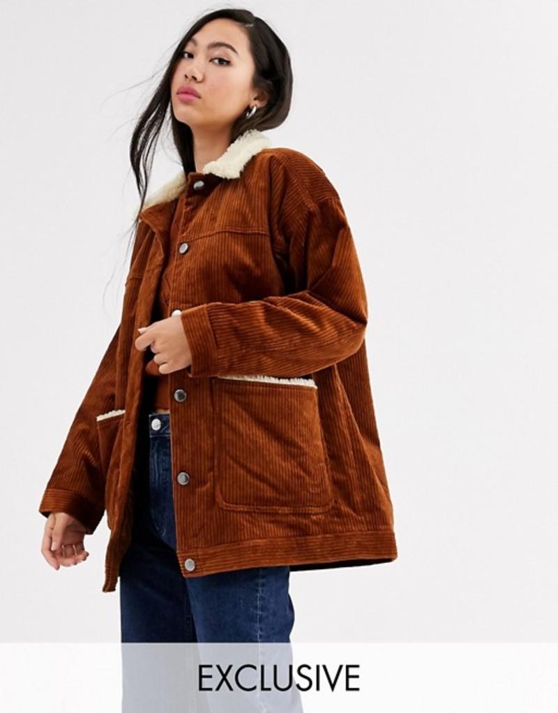 モンキ レディース ジャケット・ブルゾン アウター Monki cord jacket with fleece collar in brown Brown